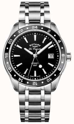 Rotary Mens Legacy Gmt Stainless Steel Black Dial GB90172/04