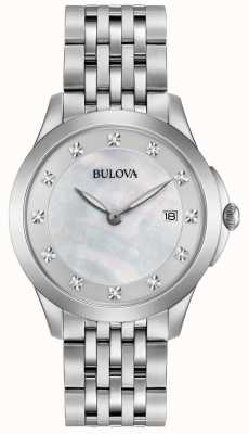 Bulova Womans Stainless Steel Silver Diamond 96S174