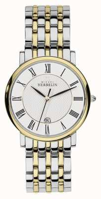 Michel Herbelin Mens Two Tone Stainless Steel Silver Gold Strap 12543/BT01