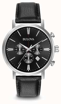 Bulova Men's Chronograph Black Leather Strap 96B262