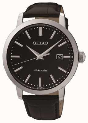 Seiko Mens Automatic Black Face Black Leather SRPA27K1