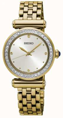 Seiko Womens Gold Plated Steel White Dial SRZ468P1
