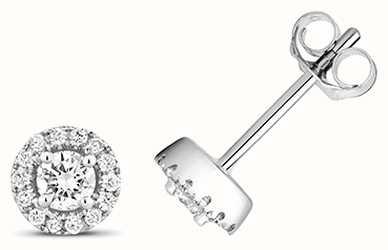 Treasure House 9k White Gold Diamond Halo Stud Earrings ED316W