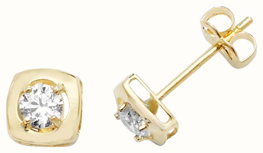 3b4ae30e8 Treasure House 9k Yellow Gold Diamond Stud Square Earrings ES471 ...