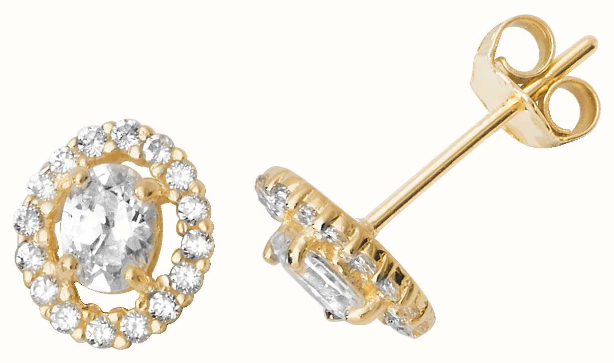 ef8d56ae8 Treasure House 9k Yellow Gold Cz Stud Circle Shaped Earrings ES523 ...