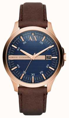 Armani Exchange Mens Brown Leather Strap Rose Gold Casing AX2172