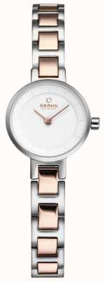 Obaku Womans Silver And Rose Gold Metal Watch V198LXCISC