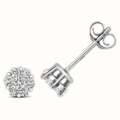Treasure House 9k White Gold Diamond Cluster Stud Earrings ED319W