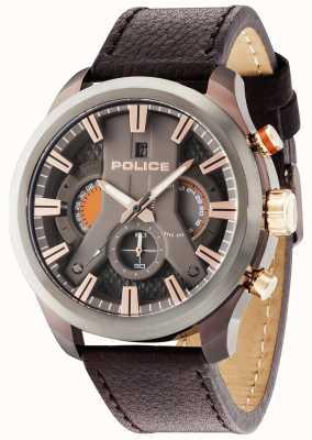Police Mens Cyclone Brown Leather Strap Gun Dial 14639JSBZU/61