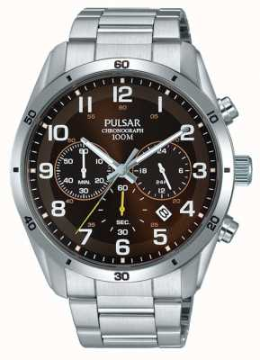 Pulsar Gents Stainless Steel Brown Face Chrono PT3843X1
