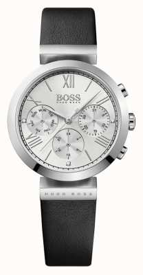 Hugo Boss Womens Classic Sport Black Leather Strap Silver Dial 1502395