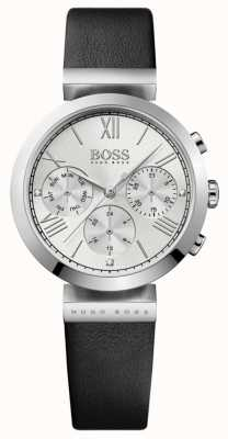 Boss Womens Classic Sport Black Leather Strap Silver Dial 1502395