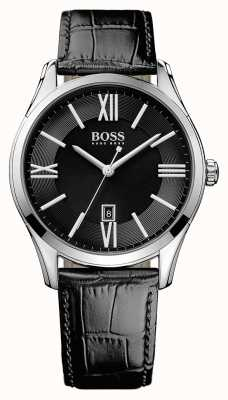 Hugo Boss Mens Ambassador Black Leather Strap Black Dial 1513022