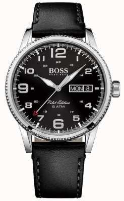 Hugo Boss Mens Pilot Vintage Black Leather Strap Black Dial 1513330