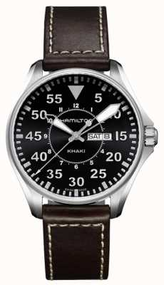 Hamilton Mens Khaki Aviation Pilot Quartz Leather H64611535