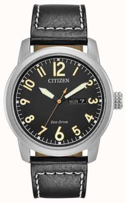 Citizen Mens Eco Drive Black Leather Chandler BM8471-01E