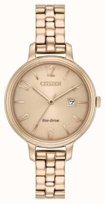 Citizen Womans Eco-Drive Rose Gold Chandler EW2443-55X
