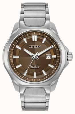 Citizen Mens Eco-Drive Super Titanium Brown dial watch AW1540-88X
