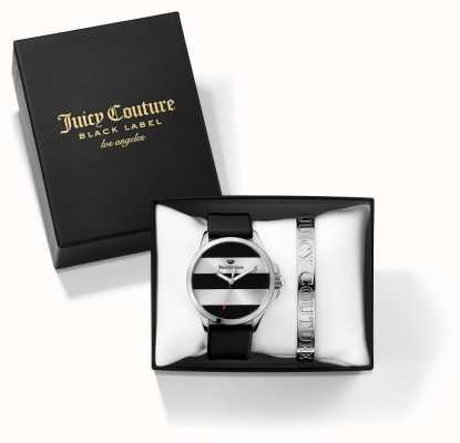 Juicy Couture Womans Jetsetter Black Silver Bangle And Watch Gift Set 1950011
