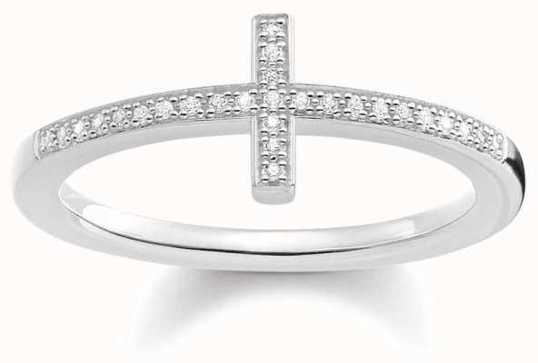 Thomas Sabo Womans Sterling Silver Diamond Cross Ring D_TR0028-725-14-54