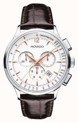 Movado Men's Circa Chronograph Stainless Steel Case White 0606576