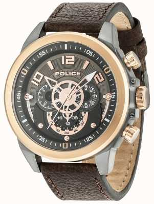 Police Mens Belmont Multi-function Brown Leather Gunmetal Dial 15036JSUR/61
