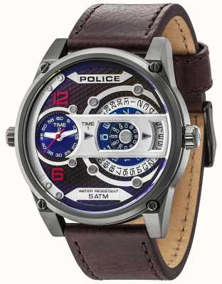Police Mens D-Jay Date Display Brown Dial Brown Leather Strap 14835JSU/12
