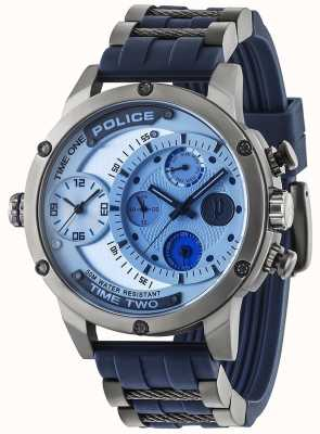 Police Mens Adder Multi-function Date Silver Dial Rubber Strap 14536JSU/04P