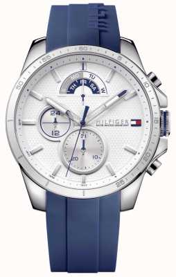 Tommy Hilfiger Men's Blue Rubber White Chronograph 1791349