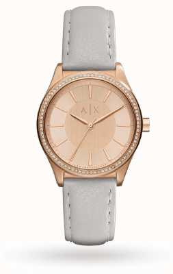 Armani Exchange Womans Grey Leather Strap Rose Gold AX5444