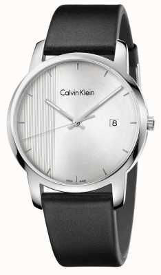 Calvin Klein Mens City Black Leather Silver Dial K2G2G1CX