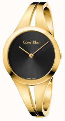 Calvin Klein Womans Addict Gold Toned Bangle Black Dial K7W2M511