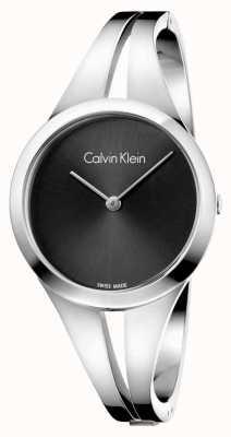 Calvin Klein Womans Steel Silver Bangle Black Dial K7W2S111