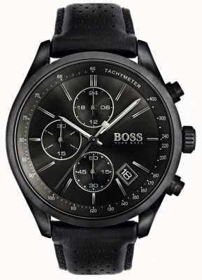 BOSS Mens Grand Prix Chronograph Black Leather Strap Black Dial 1513474