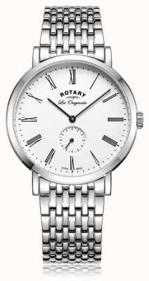 Rotary Mens Windsor Stainless Steel White Dial GB90190/01