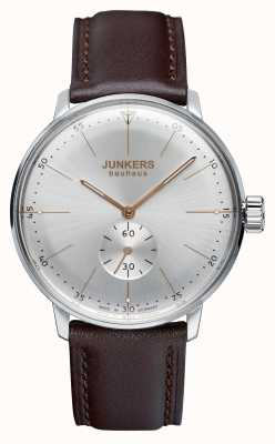 Junkers Mens Bauhaus Handwound Leather Strap Silver Dial 6032-5