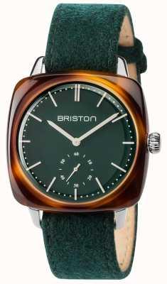 Briston Mens Clubmaster Vintage Green Fabric Strap Green Dial 17440.SA.TV.16.LFBG