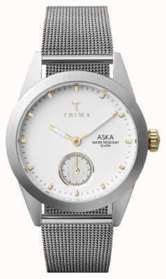 Triwa Womens Snow Aska Silver Mesh Super-Slim AKST102-MS121212