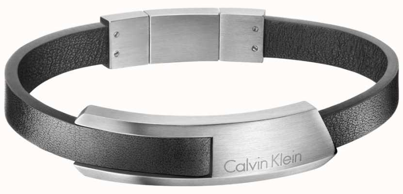Calvin Klein Mens Bump Leather Stainless Steel Bracelet KJ4MBB090100