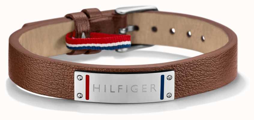 Tommy Hilfiger Mens Brown Leather Stainless Steel Bracelet 2700680