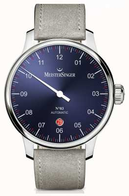 MeisterSinger Mens Classic No. 3 Automatic 40mm Sunburst Blue DM908