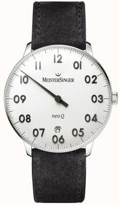 MeisterSinger Mens Form and Style Neo Q Stainless Steel and Black Suede NQ901N