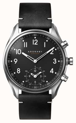 Kronaby 43mm APEX Bluetooth Black Leather Strap Smartwatch A1000-1399