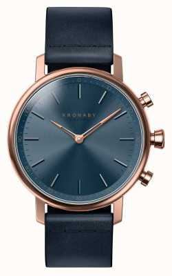Kronaby 38mm CARAT Bluetooth Rose Gold Blue Leather Smartwatch A1000-0669