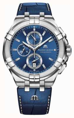 Maurice Lacroix Mens Aikon Blue Chronograph Blue Leather Strap AI1018-SS001-430-1