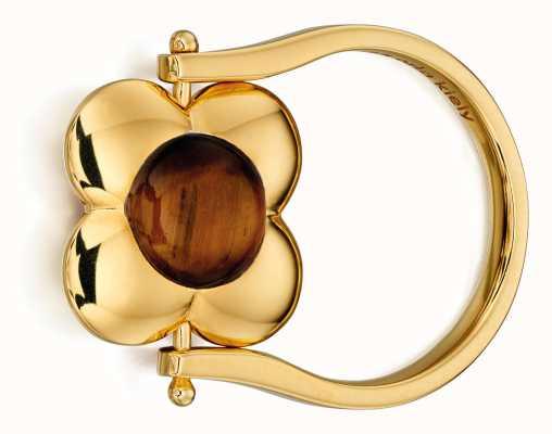 Orla Kiely MARGOT Gold Plated Sterling Silver Quartz Tiger Eye Ring R3497-56