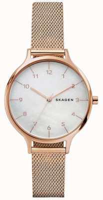 Skagen Womans Anita Rose Gold Stainless Steel Mesh Bracelet SKW2633