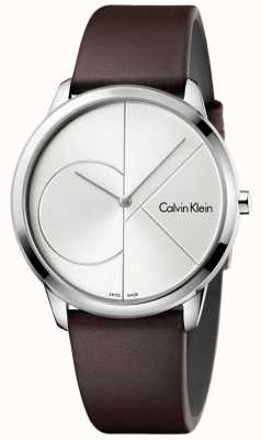Calvin Klein Mens Minimal Brown Leather Strap Silver Dial K3M211G6