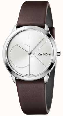 Calvin Klein Womans Minimal Brown Leather Strap Silver Dial K3M221G6