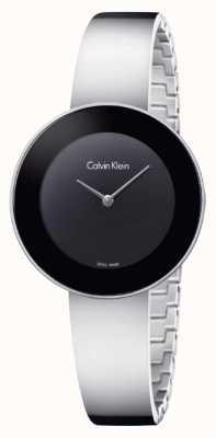Calvin Klein Womans Chic Stainless Steel Bangle Black Dial K7N23C41